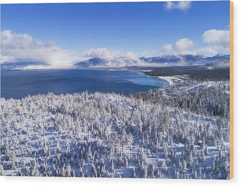South Tahoe Winter Aerial By Brad Scott - Wood Print