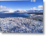 South Tahoe Winter Aerial By Brad Scott - Metal Print