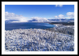 South Tahoe Winter Aerial By Brad Scott - Framed Print