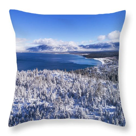 South Tahoe Winter Aerial By Brad Scott - Throw Pillow