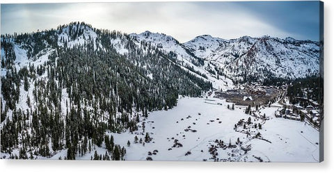 Squaw Valley Winter Aerial Panorama by Brad Scott - Acrylic Print