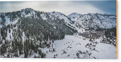 Squaw Valley Winter Aerial Panorama by Brad Scott - Wood Print