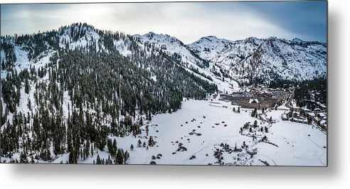 Squaw Valley Winter Aerial Panorama by Brad Scott - Metal Print