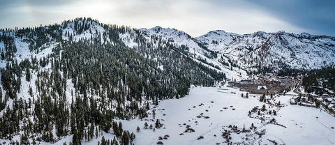 Squaw Valley Winter Aerial Panorama by Brad Scott - Art Print