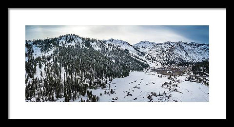 Squaw Valley Winter Aerial Panorama by Brad Scott - Framed Print
