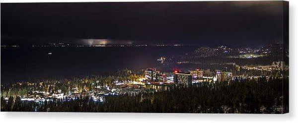 "Storm Over The City - Canvas Print-20.000"" x 6.875""-Lake Tahoe Prints"
