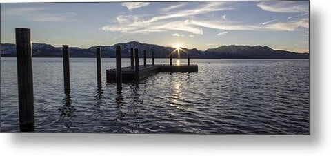 Sun Burst Over Mt Tallac - Metal Print
