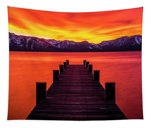 Tahoe Ablaze By Brad Scott - Tapestry