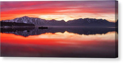 "Tahoe Aglow - Canvas Print-14.000"" x 6.000""-Lake Tahoe Prints"