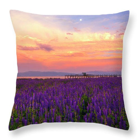 Tahoe City Lupine Sunset By Brad Scott - Throw Pillow