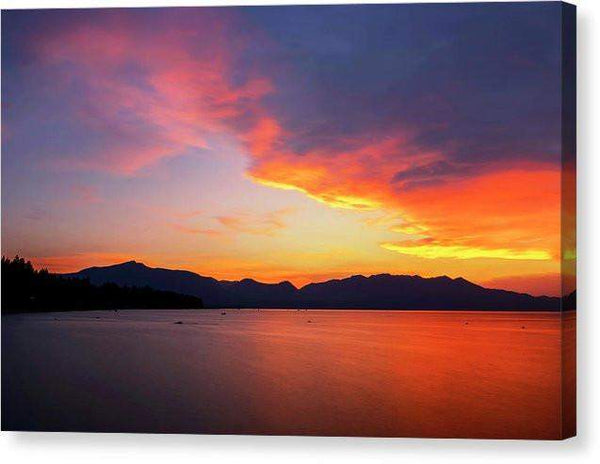"Tallac On Fire - Canvas Print-10.000"" x 6.625""-Lake Tahoe Prints"