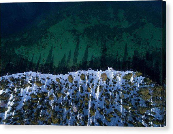 "Winter Shores Aerial - Canvas Print-10.000"" x 6.625""-Lake Tahoe Prints"