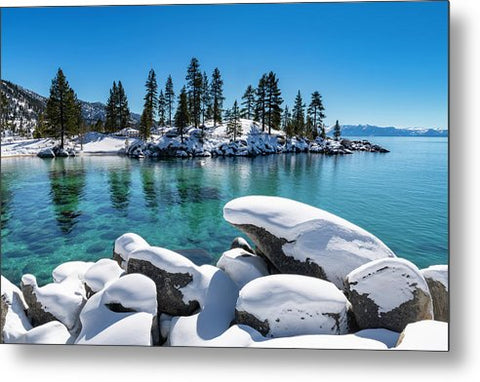 Winter Wave - Sand Harbor Lake Tahoe By Brad Scott - Metal Print