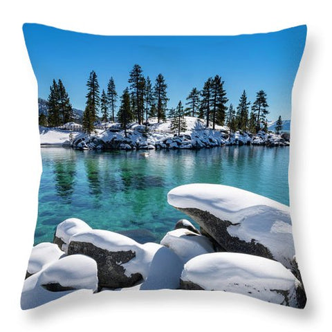 Winter Wave - Sand Harbor Lake Tahoe By Brad Scott - Throw Pillow