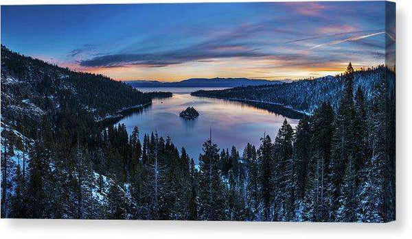 "Winters Awakening - Emerald Bay By Brad Scott - Canvas Print-14.000"" x 6.875""-Lake Tahoe Prints"