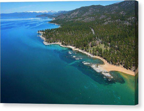 "Zephyr Cove To Cave Rock Aerial - Canvas Print-10.000"" x 6.625""-Lake Tahoe Prints"