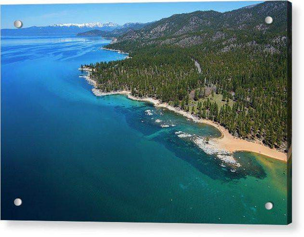 Zephyr Cove To Cave Rock Aerial - Acrylic Print