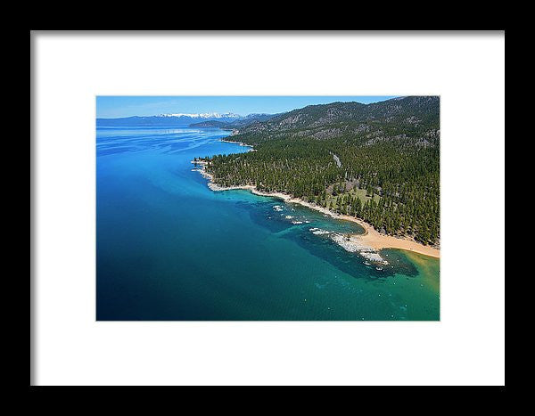 Zephyr Cove To Cave Rock Aerial - Framed Print