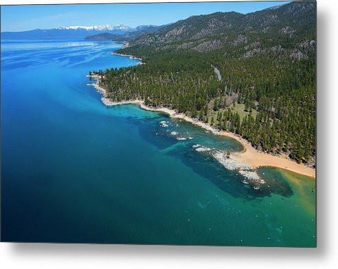 Zephyr Cove To Cave Rock Aerial - Metal Print