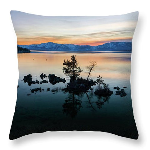 Zephyr Cove Tree Island By Brad Scott - Throw Pillow-Lake Tahoe Prints