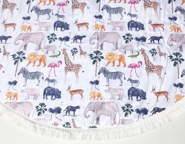 "Padded Baby Play Mat -  ""Safari Love"" - Fringed Edging"