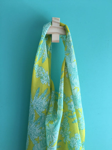 "Breastfeeding Scarf - ""Tropical Pine-Lime"""