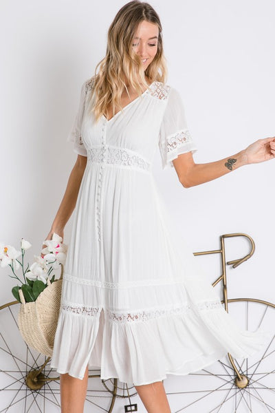 Stroll in the Park Dress- White