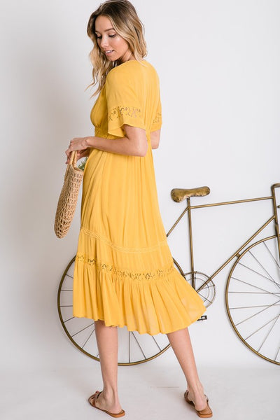 Stroll in the Park Dress- Mustard