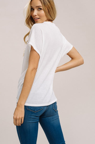 Ribbed Tee with Buttons with Tie