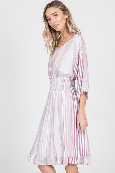 Sweet Stripes Midi Dress- Lilac