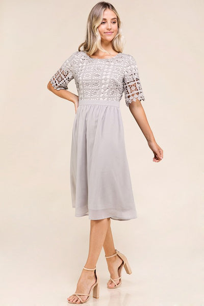 Enchanted Gray Crochet Midi Dress