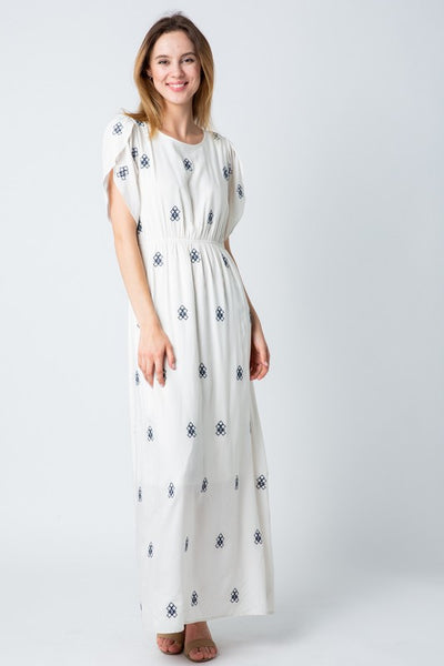 Isla Embroidered Maxi Dress- White