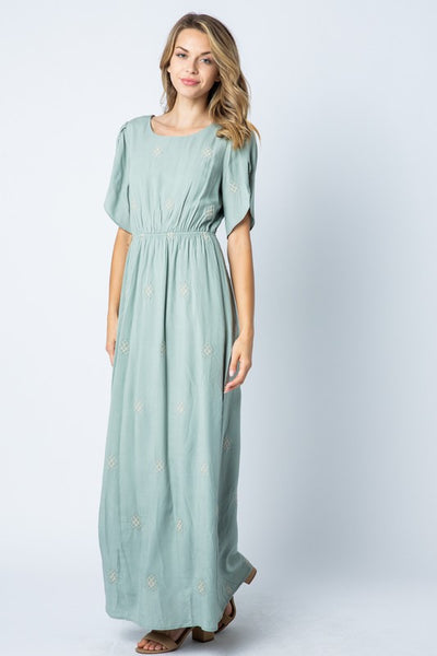 Isla Embroidered Maxi Dress- Sage