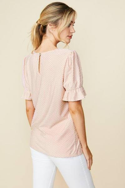 Swiss Dot Blouse- Peach