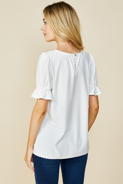 Swiss Dot Blouse- White