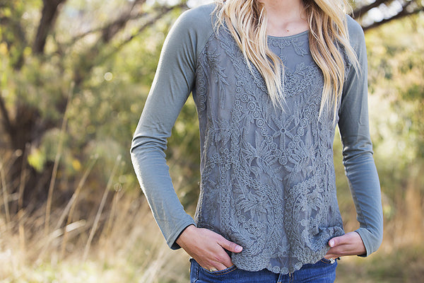 Embroidered Lace Top- Olive Green