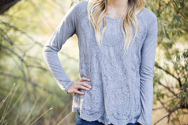 Embroidered Lace Top- Gray