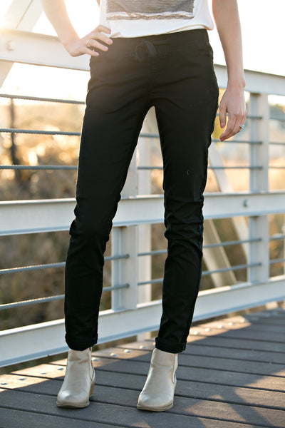 Black Drawstring Skinny Jeans- Extended Sizes L-3X