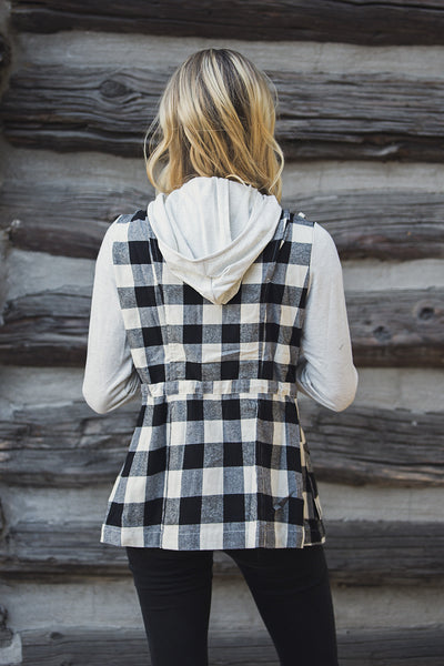 Buffalo Plaid Hooded Jacket