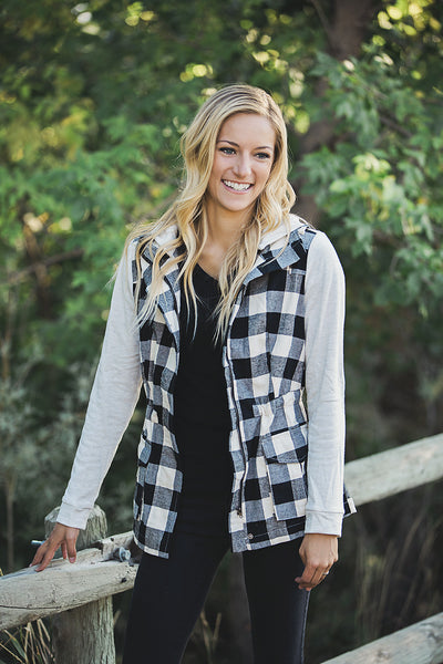 Buffalo Plaid Hooded Jacket (2 Color Options)