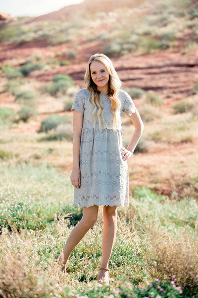 Scalloped Eyelet Dress- Khaki