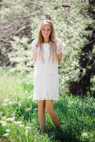Elsie Crochet Dress- White