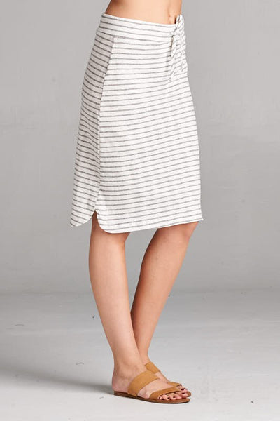 Gray and White Striped Jersey Skirt