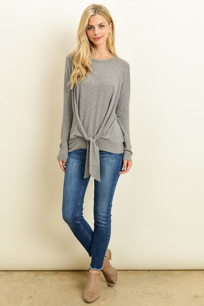 Tie Front Sweater- Gray