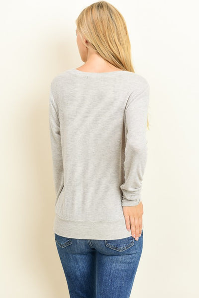 Tie Front Sweater- Taupe
