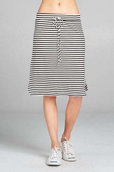 Black and White Striped Knit Skirt