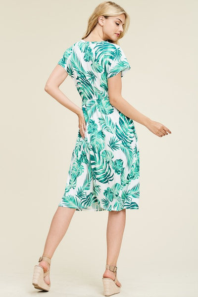 Palm Print Button Up Dress