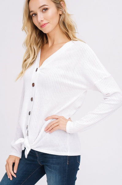 Cute as a Button Top- White