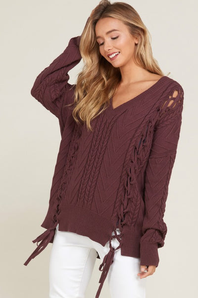 Plum Wonderful Lace Up Sweater
