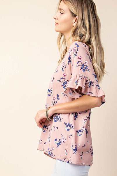 Flutter Sleeve Floral Top